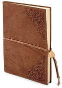 "Product Image. Title: Old World Tan Embossed Italian Leather Lined Journal with Bead Tie (6'x8"")"