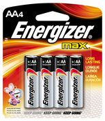 Product Image. Title: AA Alkaline Batteries 4 Pack