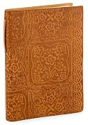 Product Image. Title: Floral Lace Squares Tan Italian leather Lined Journal ( 6&quot;x8&quot;)