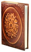 "Product Image. Title: Floral Wreath Brown Italian Leather Journal (6' x 8"")"