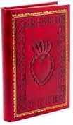 "Product Image. Title: Red Crest Emblem Heart Italian Leather Journal-(6""x8"")"