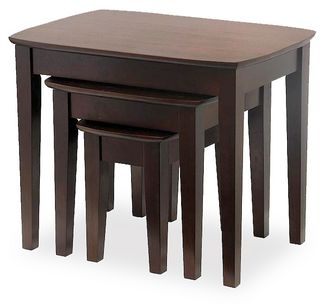 Winsome 94327 Walnut Beechwood TABLE NESTING 3PC CURVED TOP