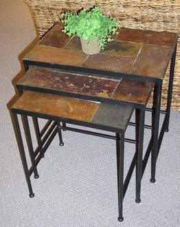 4D Concepts 601609 3 piece Nesting Tables with Slate Tops -