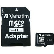 Product Image. Title: Verbatim 8GB 96807 microSD High Capacity (microSDHC) Card - Class 4