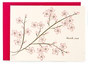 Product Image. Title: Pink Cherry Blossom Letterpress Thank You Note Card Set of 8