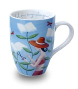 "Product Image. Title: Sarah Wilkins ""Garden of Your Imagination"" Blue Mug"