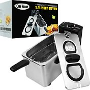 Product Image. Title: Chef Buddy  Electric Deep Fryer Stainless Steel - 3.5 Liter