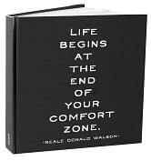 Product Image. Title: Life Begins At The End of Your Comfort Zone Bound Lined Journal 8X8