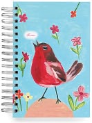 Product Image. Title: 100% Recycled Red Robin Lined Spiral Journal 6x9