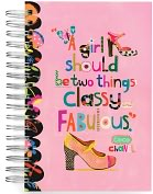 Product Image. Title: 100% Recycled A Girl Should Be Two Things Shoe Lined Spiral Journal 6x9