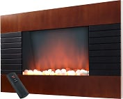 Product Image. Title: Mahogany Electric Fireplace Heater with Remote