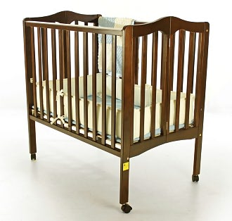 Dream On Me, 2 in 1 Lightweight Folding Portable Crib, Espresso