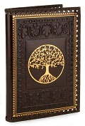 Product Image. Title: Tree of Life Brown Gold Stitched Italian Lined Leather Journal 6.5 x 9.25