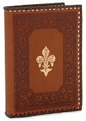 Product Image. Title: Giglio Brown Recycled Gold Stitched Italian Lined Leather Journal 7 x 10