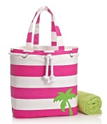 Product Image. Title: Pink Wide Stripe with Palm Tree Canvas Summer Tote
