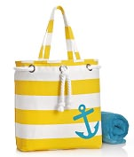 Product Image. Title: Yellow Wide Stripe with Anchor Canvas Summer Tote