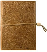 "Product Image. Title: Embossed Brown Celtic Tree Design Italian Leather Journal with Bead Tie-Lined (6""x8"")"