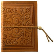 "Product Image. Title: Embossed Tan Italian Leather Journal with Bead Tie-Lined (6""x8"")"