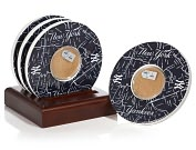 Product Image. Title: New York Yankees Bronx Map Coasters with Certified Authentic Field Dirt - Set of 4
