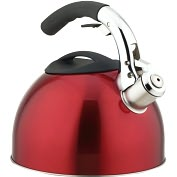 Product Image. Title: Primula 3 Qt Soft Grip Whistling Tea Kettle Red