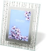 Product Image. Title: Celestial Clear Mirrored Border with Rhinestones Embellishments Frame 5x7