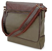 Product Image. Title: Olive Green Vertical Canvas Messenger Bag w/Faux leather Trim(13 x 3 x 12)