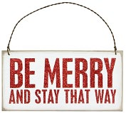 "Product Image. Title: Be Merry Plaque Hanging Door Sign 6"" x 3"""
