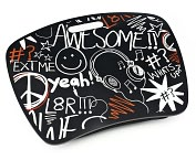 "Product Image. Title: ""Awesome"" Headphones Black & Red Lap Desk with Zip Pocket"