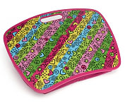 Product Image. Title: Grafitti Neon Stripe Pink Lap Desk with Zip Pocket