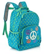 Product Image. Title: Turquoise Peace & Dots Nylon Backpack (16 x 12 x 7)