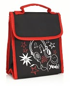 Product Image. Title: Black Awesome Fold Over Lunch Tote (9.5 x 8 x 4)