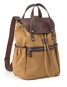 Product Image. Title: Acorn Canvas Backpack with Double Leather Look Handles (16 x 6x 12)