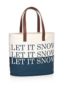 Product Image. Title: Let It Snow Blue Canvas Holiday Tote Bag (12.25 x 14.25)