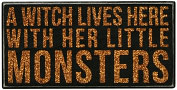 Product Image. Title: A Witch Lives Here With Her Little Monsters Box Sign 10x5