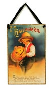 Product Image. Title: Halloween Greetings Vintage Door Hanging Sign 6.5x9.5
