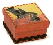 Product Image. Title: Cat and Witch Halloween Square Box 2.5 X 2.5