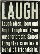 Product Image. Title: Laugh Black Wood Box Sign/Plaque (8x6)