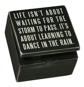 Product Image. Title: Dance in the Rain Black Wood Hinged Box Sign (4x4)