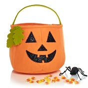 Product Image. Title: Pumpkin Felt Halloween Treat Bag (8 x 8)