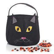 Product Image. Title: Black Cat Felt Halloween Treat Bag (8 x 8)