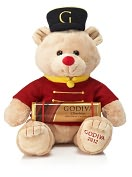 Product Image. Title: Godiva Drummer Bear Gund Plush with Solid Milk Chocolate Bar