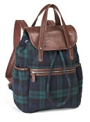 Product Image. Title: Blackwatch Plaid Wool Backpack with Brown Leather Look Handles (16x6x12)