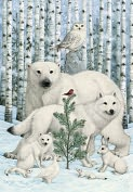 Product Image. Title: Bywaters Animals and Birch Trees Christmas Boxed Card