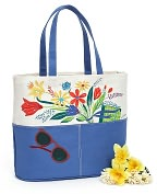 Product Image. Title: Floral Bouquet Cornflower Blue Canvas Tote (16x7x14)