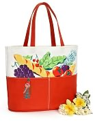 Product Image. Title: Parisian Market Tomato Red Canvas Tote (16x7x14)