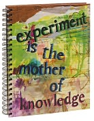 "Product Image. Title: Experiment is the Mother of Knowledge Wiro Sketchbook 8.5"" x 11"""