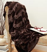 """Product Image. Title: Plush Luxe Chocolate Brown Faux Fur Throw 50"""" x 60"""""""