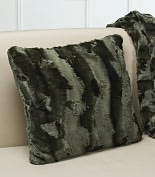 Product Image. Title: Plush Luxe Olive Faux Fur Throw Pillow 16.5'' x 16.5''