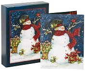 Product Image. Title: Snowman Scarf Christmas Boxed Cards
