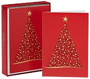 Product Image. Title: Red Glitter Tree Christmas Boxed Cards